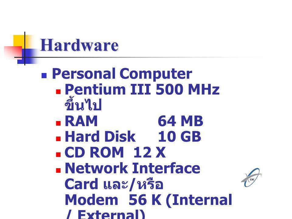 Hardware Personal Computer Pentium III 500 MHz ขึ้นไป RAM 64 MB