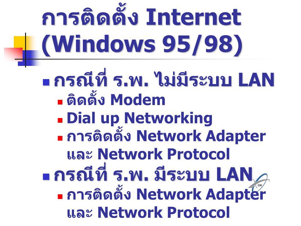 การติดตั้ง Internet (Windows 95/98)