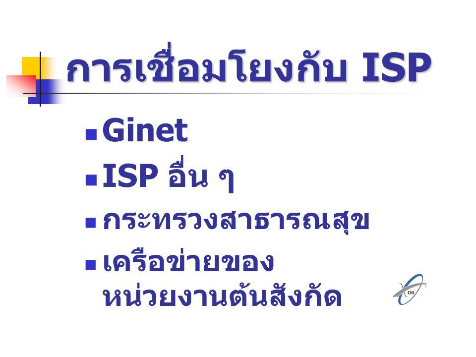 การเชื่อมโยงกับ ISP Ginet ISP อื่น ๆ กระทรวงสาธารณสุข
