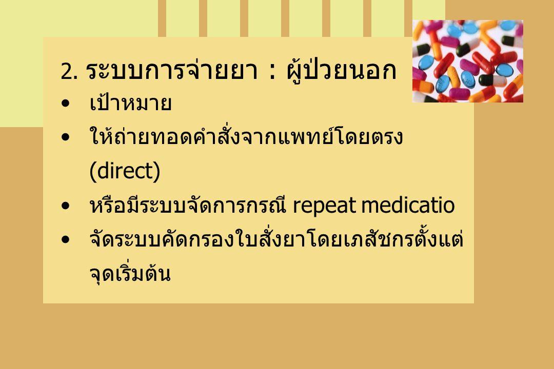 2. ระบบการจ่ายยา : ผู้ป่วยนอก