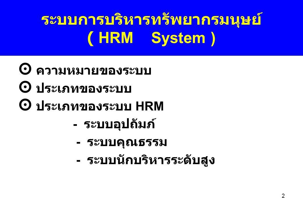 ระบบการบริหารทรัพยากรมนุษย์ ( HRM System )