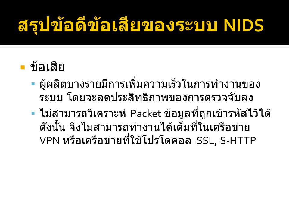 สรุปข้อดีข้อเสียของระบบ NIDS