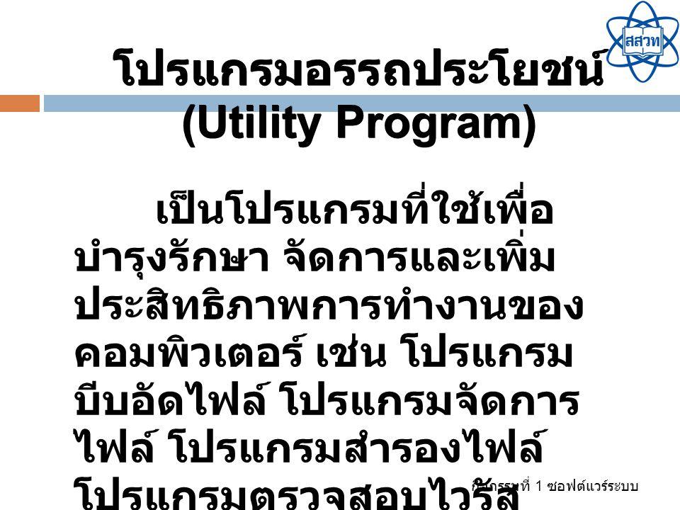 โปรแกรมอรรถประโยชน์ (Utility Program)