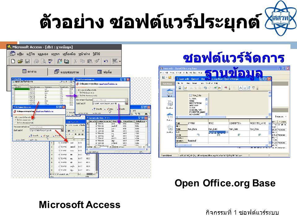 ตัวอย่าง ซอฟต์แวร์ประยุกต์ ซอฟต์แวร์จัดการ ฐานข้อมูล
