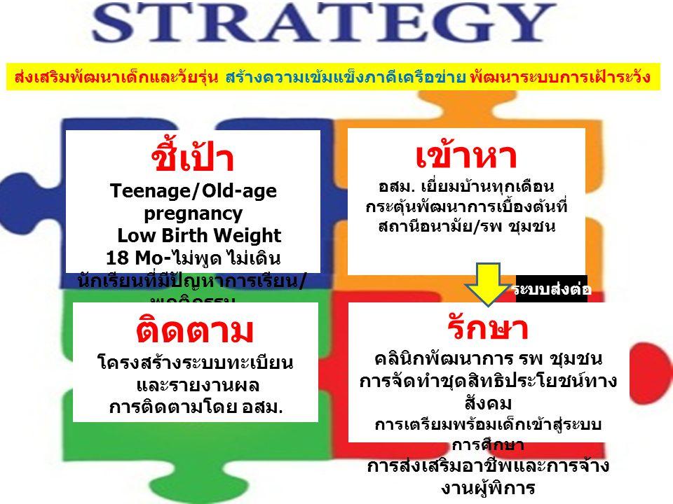 เข้าหา ชี้เป้า ติดตาม รักษา Teenage/Old-age pregnancy Low Birth Weight