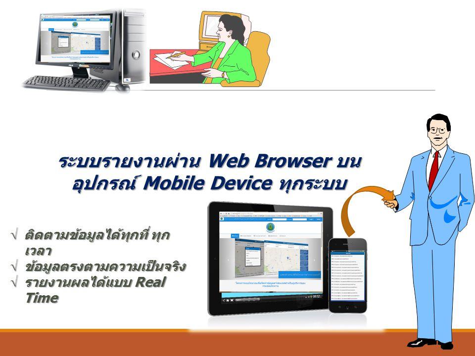 ระบบรายงานผ่าน Web Browser บนอุปกรณ์ Mobile Device ทุกระบบ