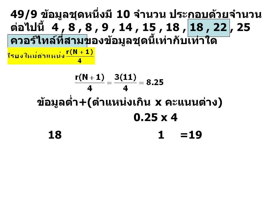49/9 ข้อมูลชุดหนึ่งมี 10 จำนวน ประกอบด้วยจำนวนต่อไปนี้ 4 , 8 , 8 , 9 , 14 , 15 , 18 , 18 , 22 , 25 ควอร์ไทล์ที่สามของข้อมูลชุดนี้เท่ากับเท่าใด