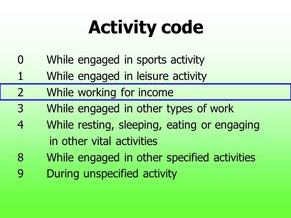 Activity code 0 While engaged in sports activity
