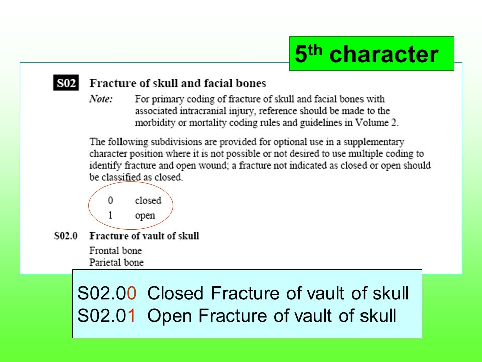 5th character S02.00 Closed Fracture of vault of skull