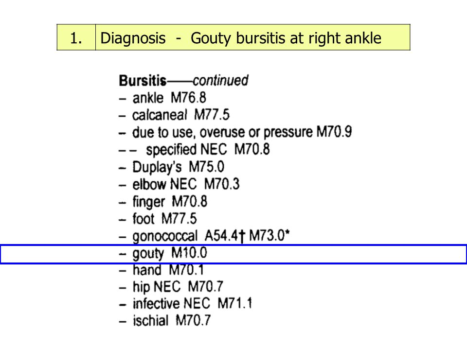1. Diagnosis - Gouty bursitis at right ankle