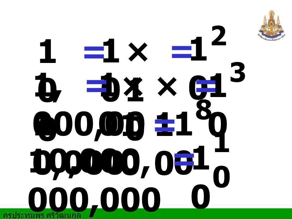 2 10 100 = 10 ×10 = 3 1,000 = 10 ×10 ×10 = 10 8 100,000,000 = 10 10 = 10 10,000,000,000