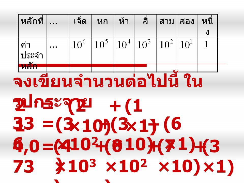จงเขียนจำนวนต่อไปนี้ ในรูปกระจาย 21 = (2 ×10) + (1 ×1) 336 = (3 ×102)