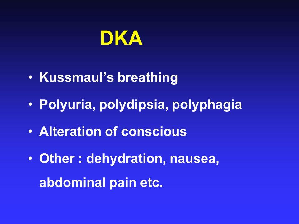 DKA Kussmaul's breathing Polyuria, polydipsia, polyphagia