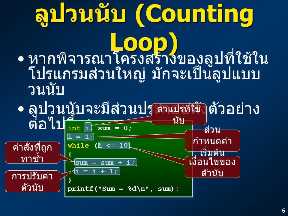 ลูปวนนับ (Counting Loop)