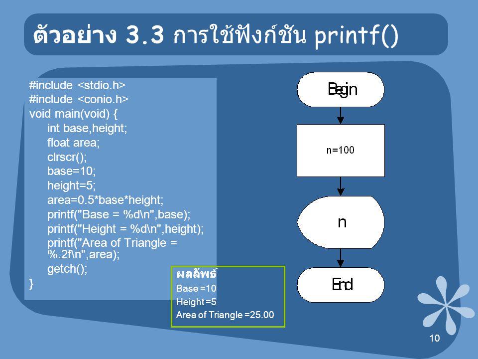 ตัวอย่าง 3.3 การใช้ฟังก์ชัน printf()