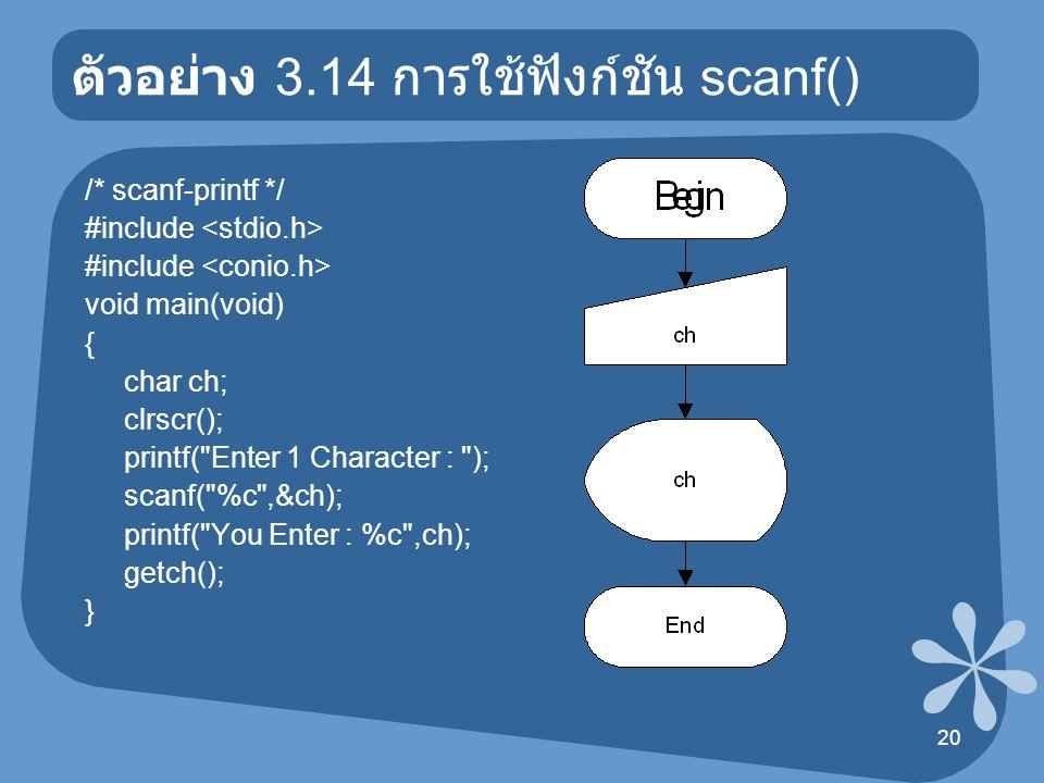 ตัวอย่าง 3.14 การใช้ฟังก์ชัน scanf()