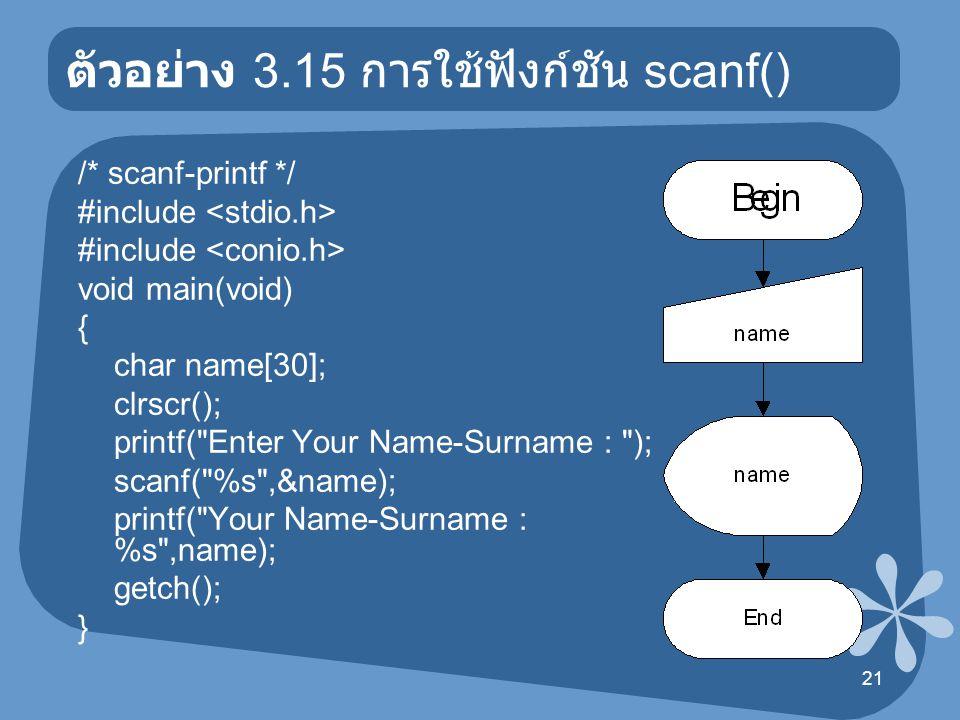 ตัวอย่าง 3.15 การใช้ฟังก์ชัน scanf()