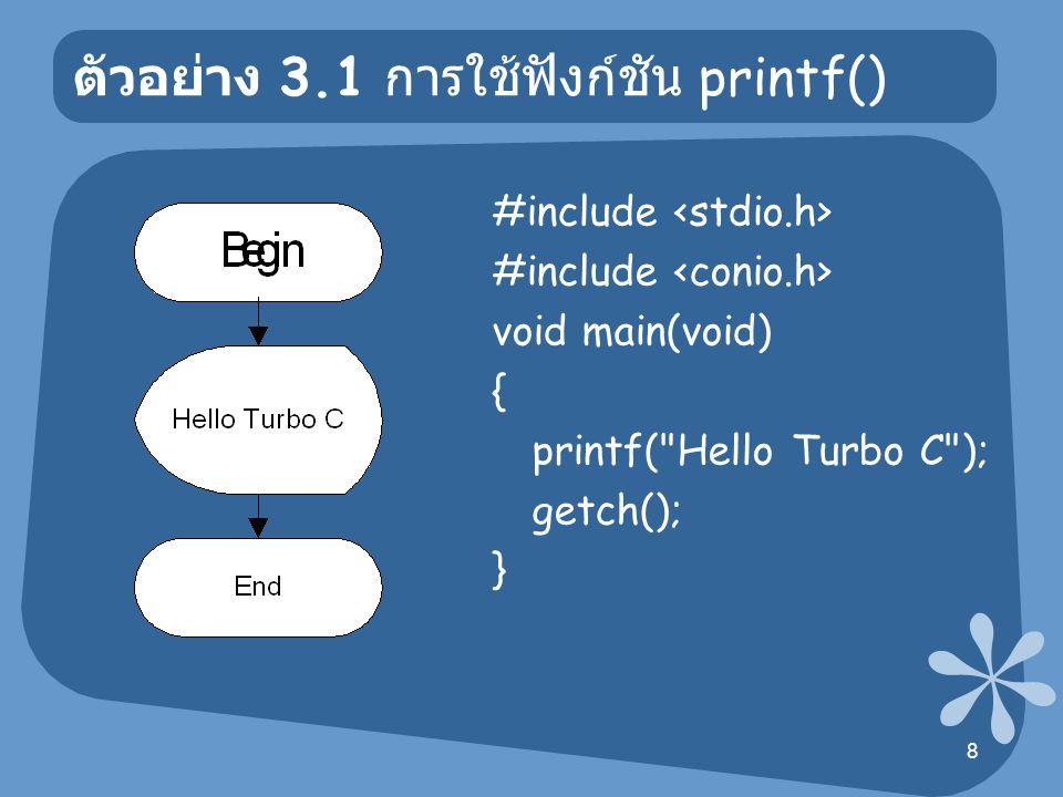 ตัวอย่าง 3.1 การใช้ฟังก์ชัน printf()