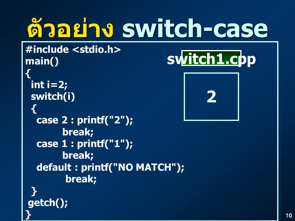 ตัวอย่าง switch-case 2 switch1.cpp #include <stdio.h> main() {
