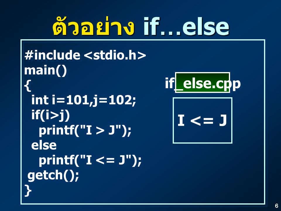 ตัวอย่าง if…else I <= J if_else.cpp #include <stdio.h> main()