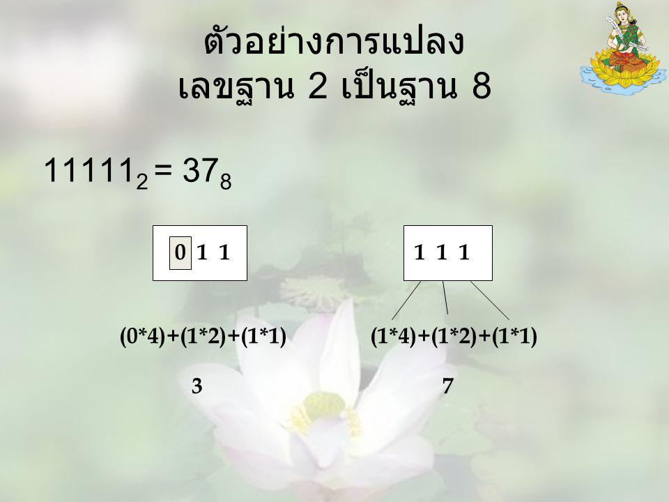ตัวอย่างการแปลง เลขฐาน 2 เป็นฐาน 8