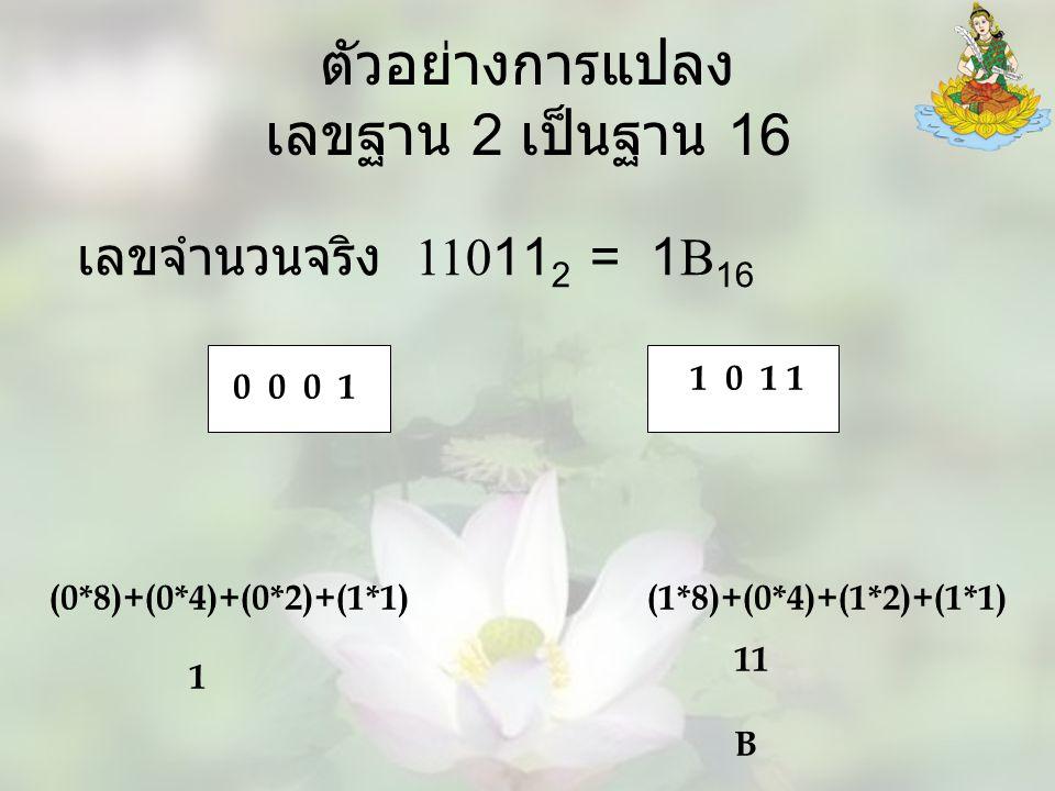 ตัวอย่างการแปลง เลขฐาน 2 เป็นฐาน 16