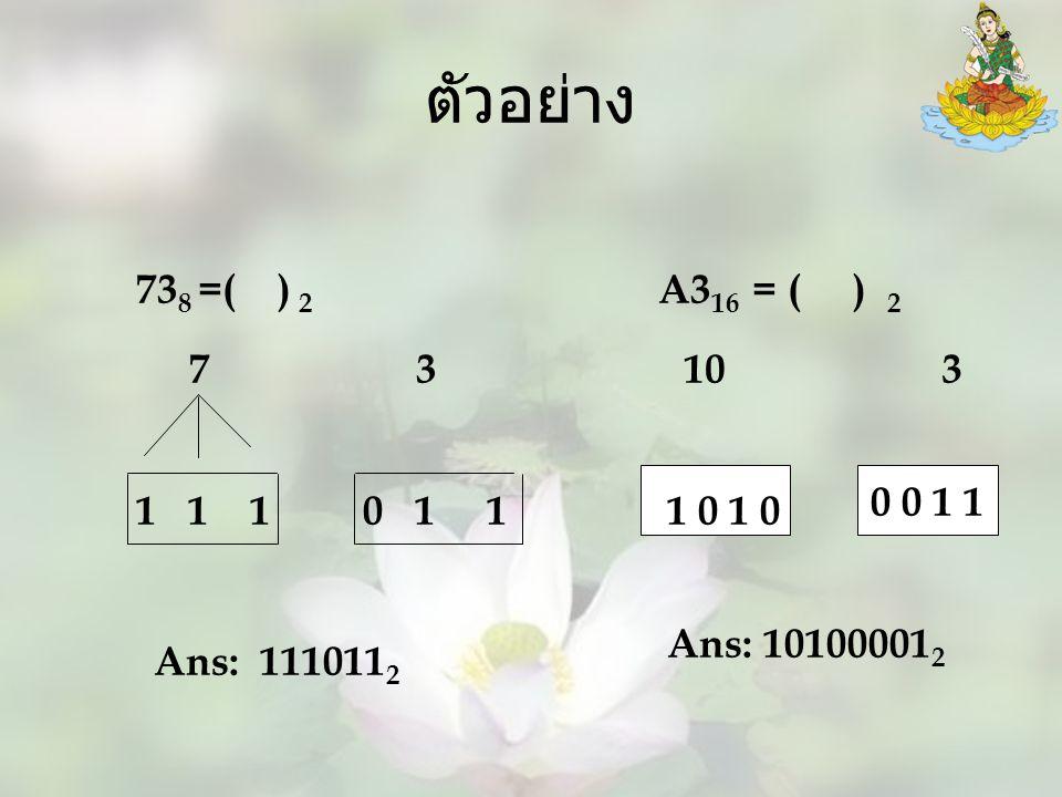 ตัวอย่าง 738 =( ) 2. A316 = ( ) 2. 7 3. 10 3. 0 0 1 1.