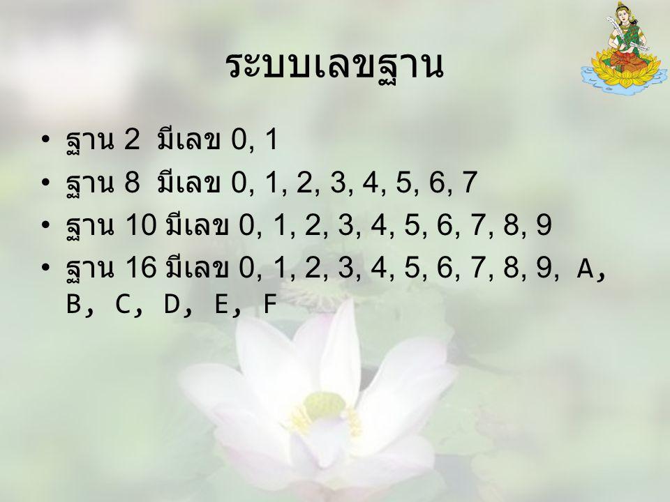 ระบบเลขฐาน ฐาน 2 มีเลข 0, 1 ฐาน 8 มีเลข 0, 1, 2, 3, 4, 5, 6, 7