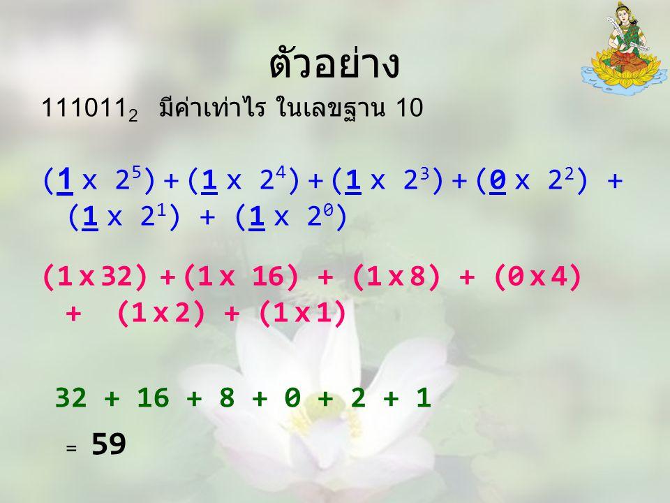 ตัวอย่าง 1110112 มีค่าเท่าไร ในเลขฐาน 10. (1 x 25) + (1 x 24) + (1 x 23) + (0 x 22) + (1 x 21) + (1 x 20)