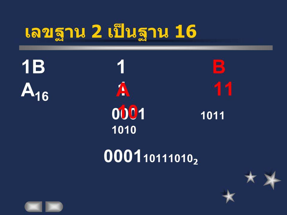 เลขฐาน 2 เป็นฐาน 16 1BA16. 1 B A. 1 11 10.