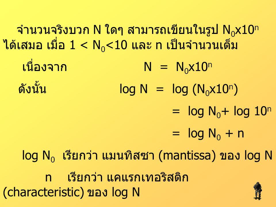 จำนวนจริงบวก N ใดๆ สามารถเขียนในรูป N0x10n ได้เสมอ เมื่อ 1 < N0<10 และ n เป็นจำนวนเต็ม