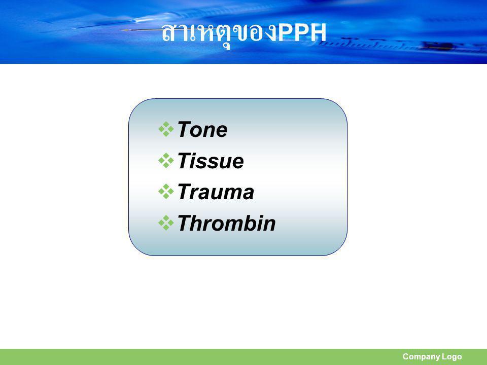 สาเหตุของPPH Tone Tissue Trauma Thrombin Company Logo