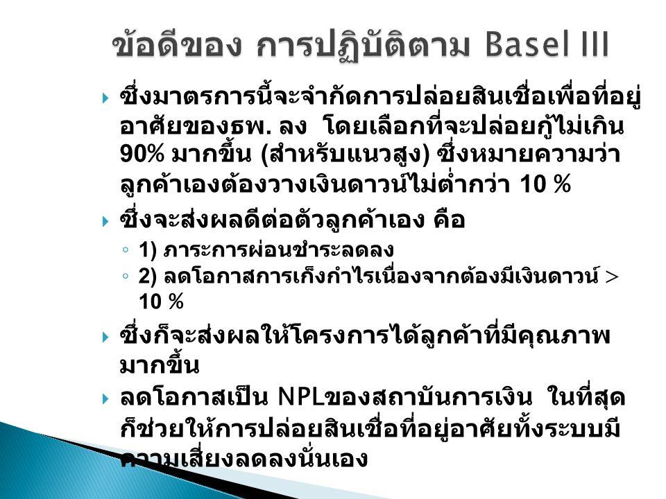 ข้อดีของ การปฏิบัติตาม Basel III