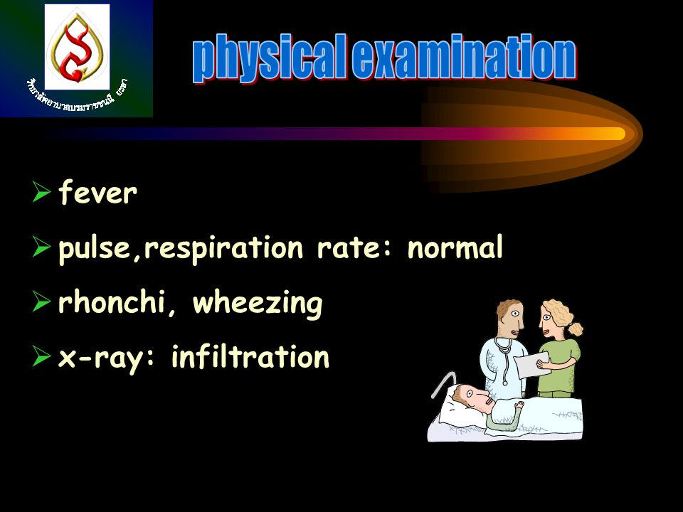 physical examination fever pulse,respiration rate: normal