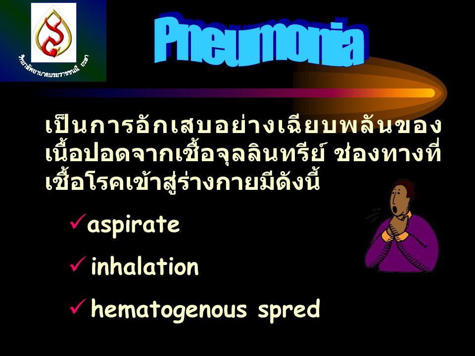 Pneumonia เป็นการอักเสบอย่างเฉียบพลันของเนื้อปอดจากเชื้อจุลลินทรีย์ ช่องทางที่เชื้อโรคเข้าสู่ร่างกายมีดังนี้