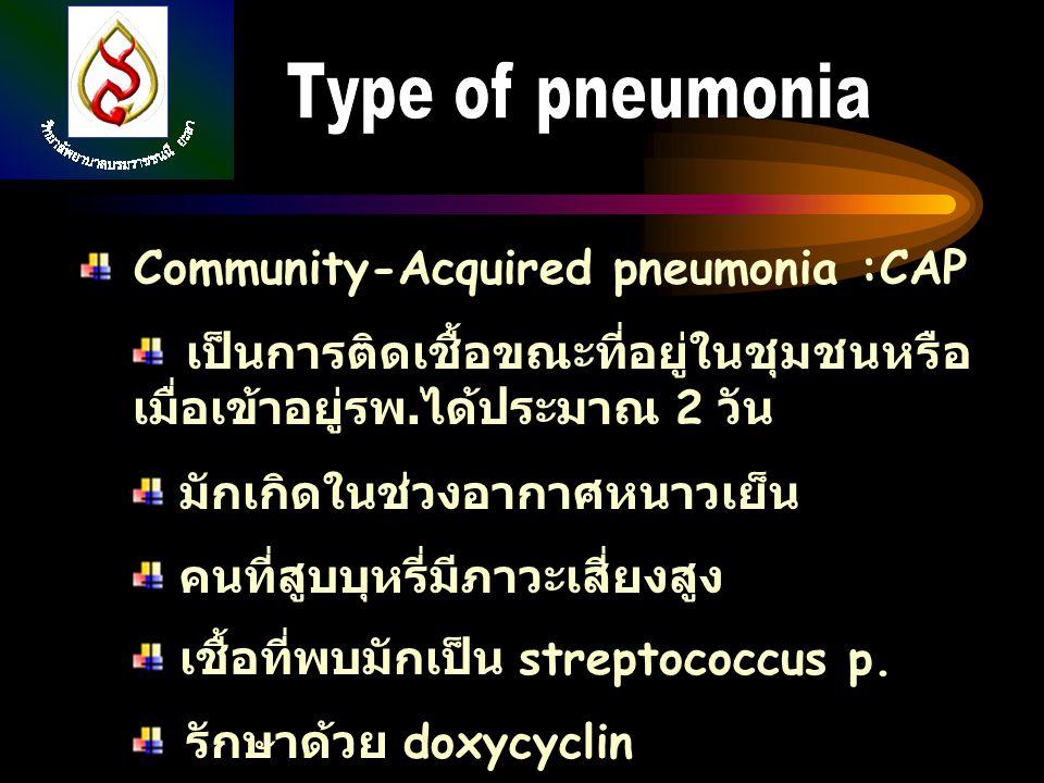Type of pneumonia Community-Acquired pneumonia :CAP