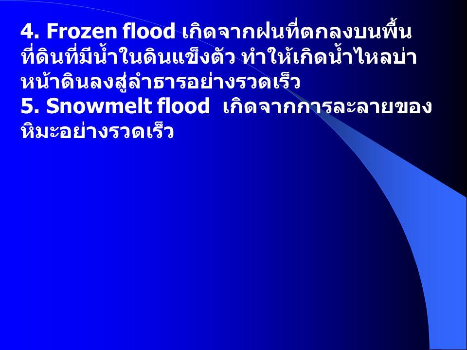 4. Frozen flood เกิดจากฝนที่ตกลงบนพื้นที่ดินที่มีน้ำในดินแข็งตัว ทำให้เกิดน้ำไหลบ่าหน้าดินลงสู่ลำธารอย่างรวดเร็ว