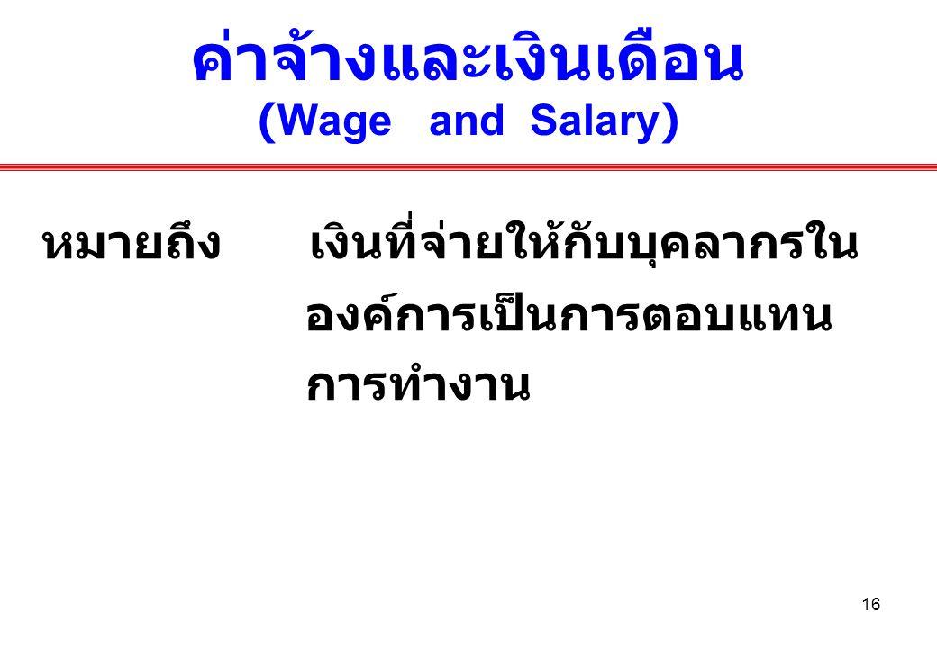ค่าจ้างและเงินเดือน (Wage and Salary)