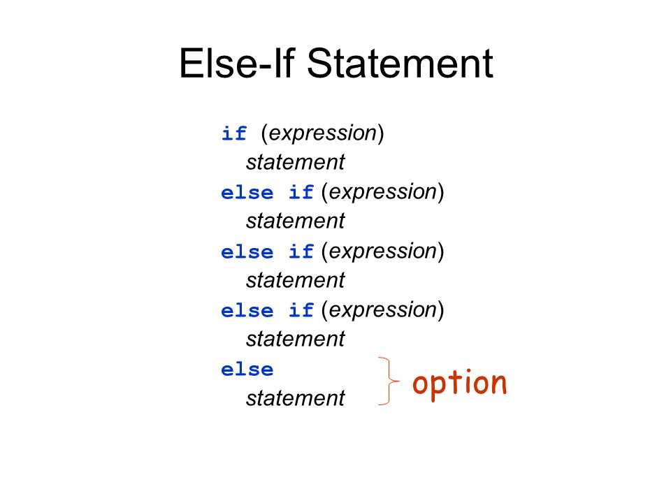 Else-If Statement option if (expression) statement
