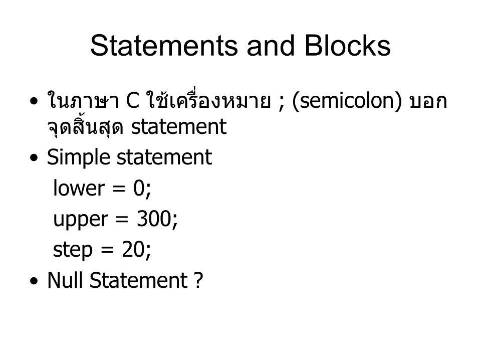 Statements and Blocks ในภาษา C ใช้เครื่องหมาย ; (semicolon) บอกจุดสิ้นสุด statement. Simple statement.