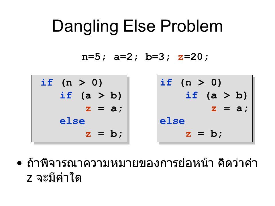 Dangling Else Problem ถ้าพิจารณาความหมายของการย่อหน้า คิดว่าค่า z จะมีค่าใด. n=5; a=2; b=3; z=20; if (n > 0)