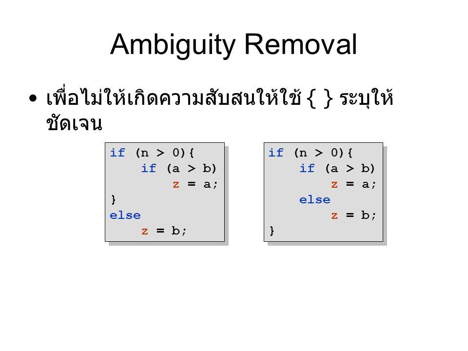 Ambiguity Removal เพื่อไม่ให้เกิดความสับสนให้ใช้ { } ระบุให้ชัดเจน