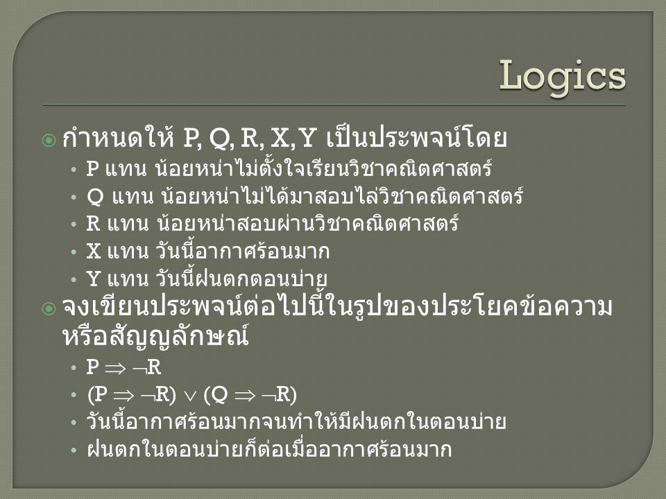 Logics กำหนดให้ P, Q, R, X, Y เป็นประพจน์โดย