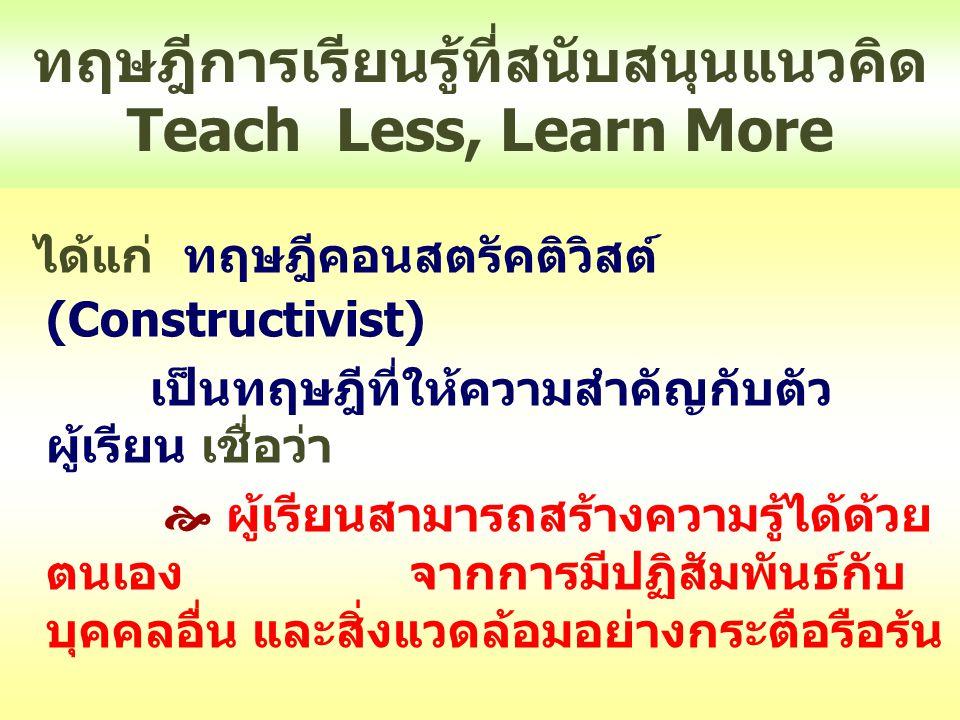 ทฤษฎีการเรียนรู้ที่สนับสนุนแนวคิด Teach Less, Learn More