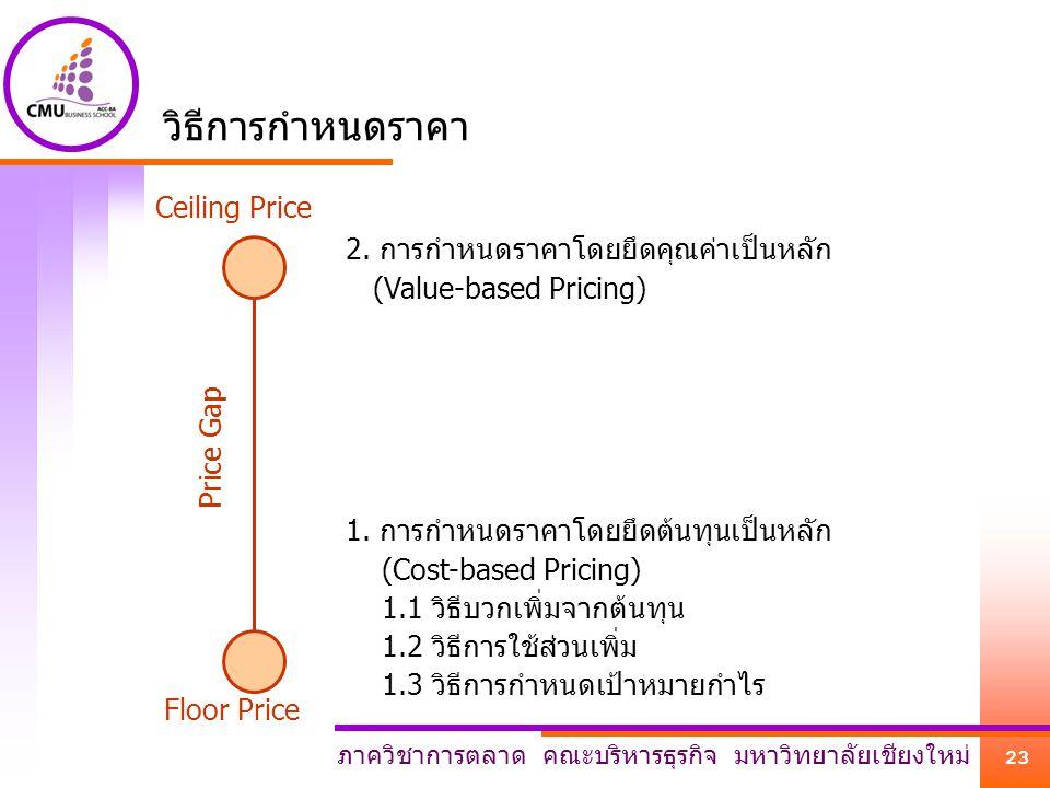 วิธีการกำหนดราคา Ceiling Price 2. การกำหนดราคาโดยยึดคุณค่าเป็นหลัก