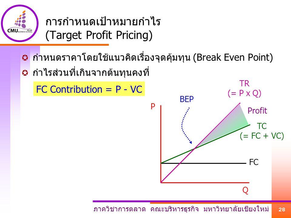 การกำหนดเป้าหมายกำไร (Target Profit Pricing)