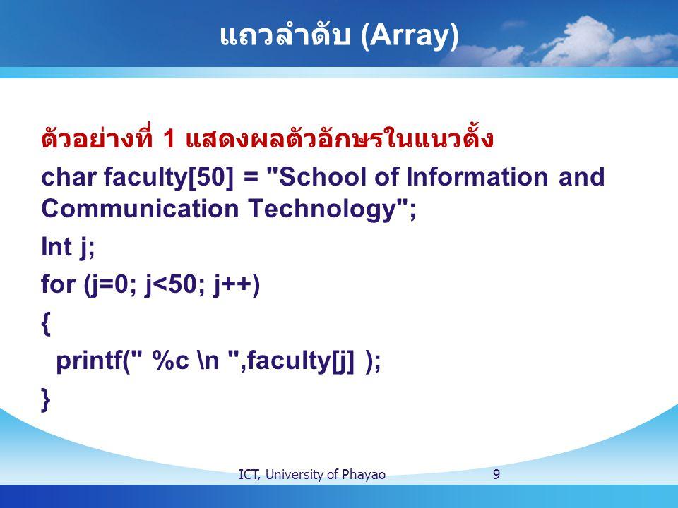 แถวลำดับ (Array) ตัวอย่างที่ 1 แสดงผลตัวอักษรในแนวตั้ง