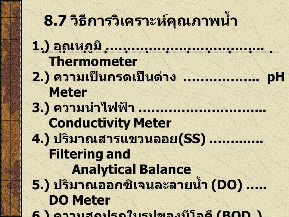 8.7 วิธีการวิเคราะห์คุณภาพน้ำ