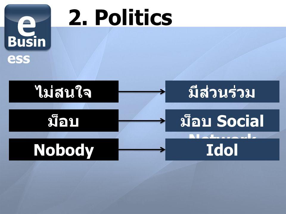 e 2. Politics ไม่สนใจ มีส่วนร่วม ม็อบ ม็อบ Social Network Nobody Idol