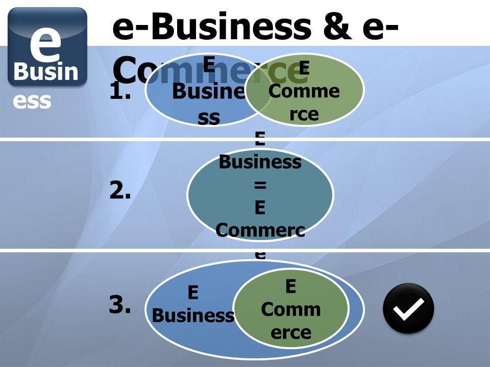 e e-Business & e-Commerce 1. 2. 3. Business E Business E Commerce